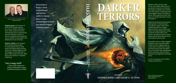 """Darker Terrors"" ed. by Stephen Jones and David A. Sutton. Artwork by Les Edwards. Layout by John Oakey. ©2015 Stephen Jones & David A. Sutton/Spectral Press"